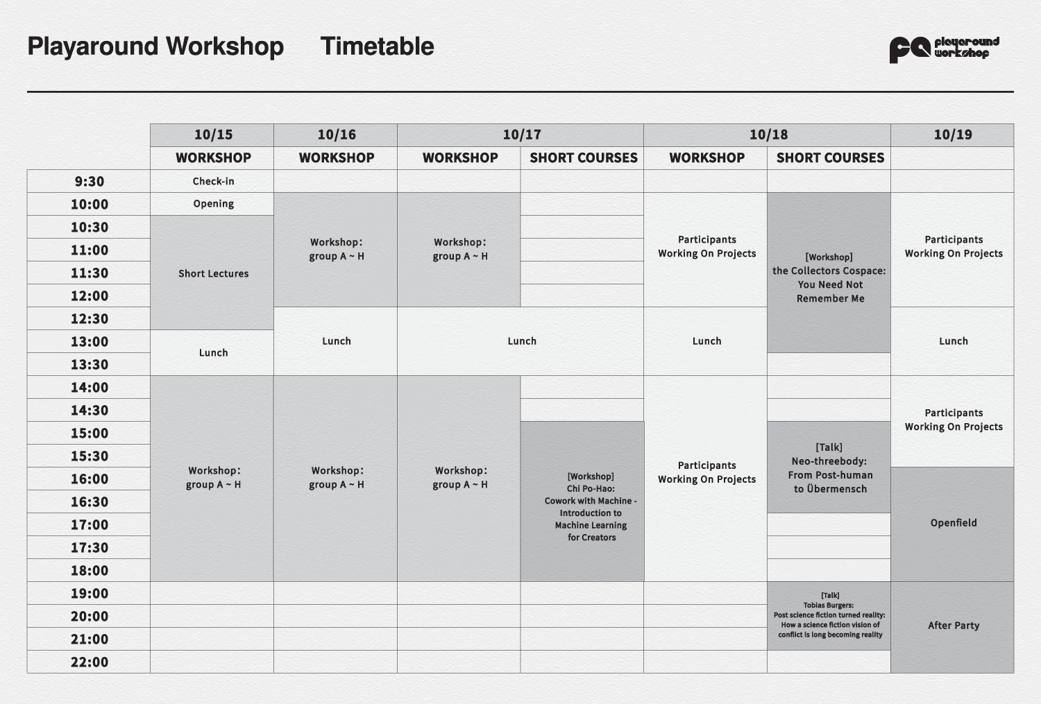 workshop timetable